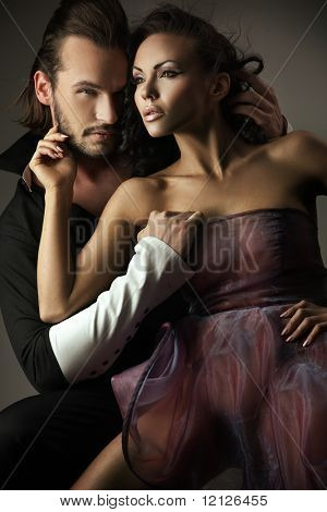Vogue style photo of a cute couple