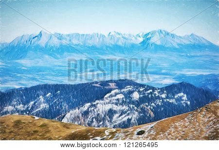 View Of The High Tatras From The Low Tatras, Travelling Theme, Illustration With Colored Pencils