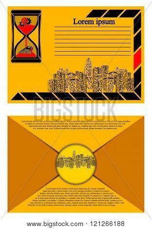brochure with urban landscape envelope