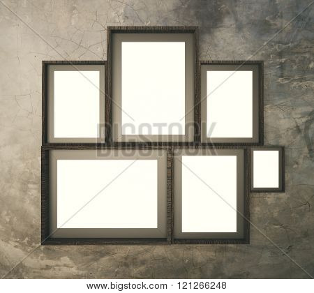 Brown Broad Pattern Wall With Multiple Blank Picture Frames, 3D Render, Mock Up