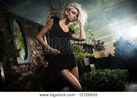 Fashionable blonde posing over evening sky