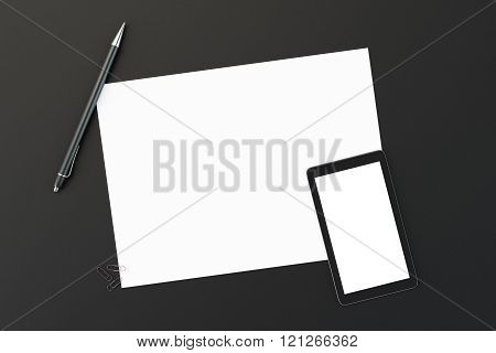 Blank Paper With Blank Smartphone Screen And Pen On Black Table, Mock Up