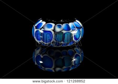 Transparent blue and pink glassy bead
