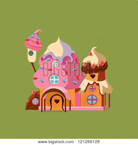 Fantasy Candy House. Vector Illustartion