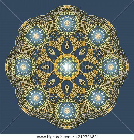 Glow Mandala. Vector Background. Ethnic decorative element. Vintage Round Ornament Pattern. Islamic Arabic Indian Ottoman Motifs Kaleidoscope Medallion Yoga Meditation.