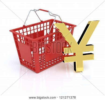 Shopping Basket On White Background With Yen-Yuan Symbol