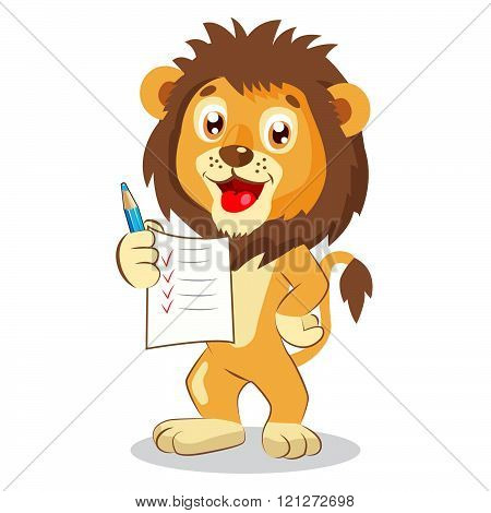 Cute Lion Holding Up His Grades. Cartoon Vector. Cute Lion Drawing. Lion Pictures.