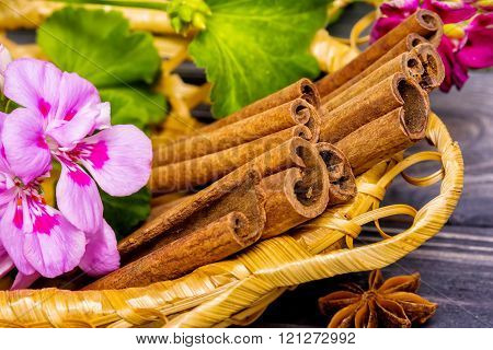 Cinnamon Sticks In Basket