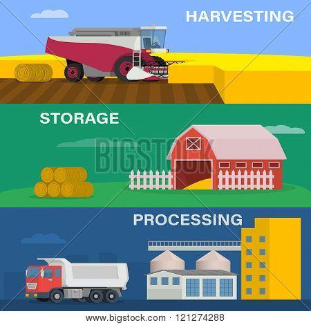 Agriculture design concept set with of the process of harvesting crops, starage and processing of fa