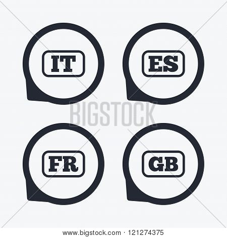 Language icons. IT, ES, FR and GB translation.