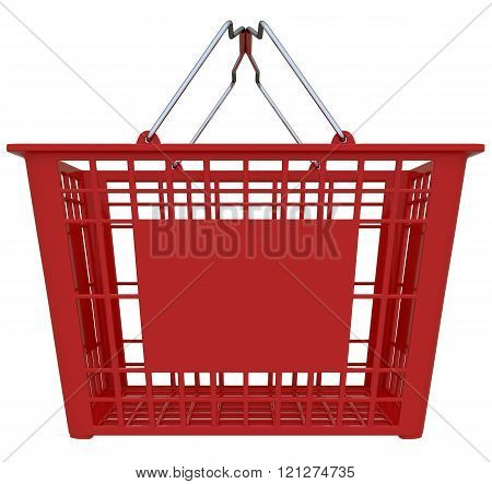 Red Shopping Basket Isolated Over White Background