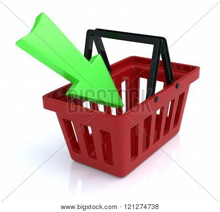 Shopping Basket on White Background With Add Arrow