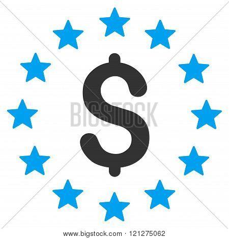 Dollar Stars Flat Glyph Icon