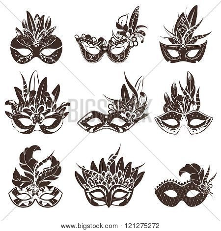 Mask Black White Icons Set