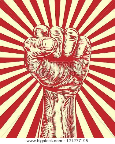 An original illustration of a revolutionary fist held in the air in a vintage wood cut propaganda style