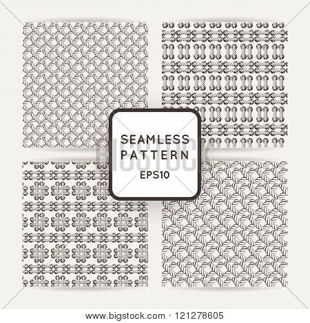 Set of vector seamless patterns with crossed and braided cords. Tying. Macrame.