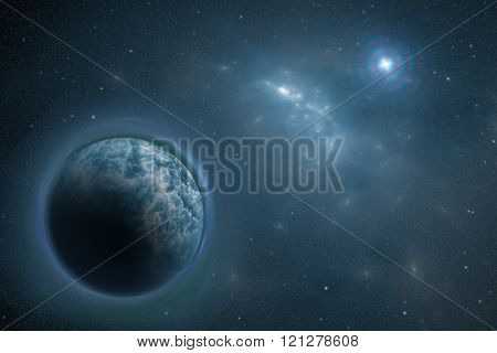 Cosmos Scene With Blue Planet, Nebula And Stars In Space