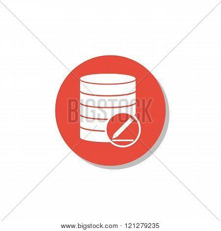 Database-modify Icon, On White Background, Red Circle Border, White Outline