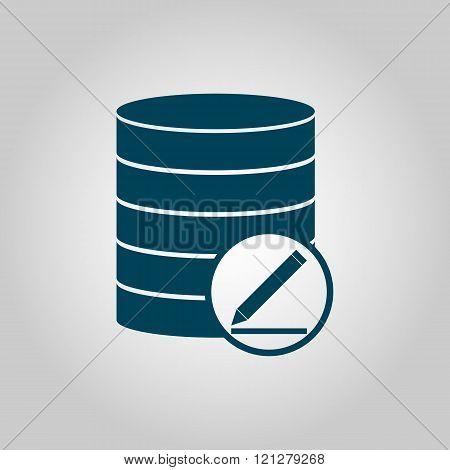 Database-modify Icon, On Grey Background, Blue Outline, Large Size Symbol