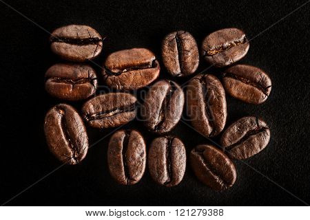 Extreme close-up image of coffee beans