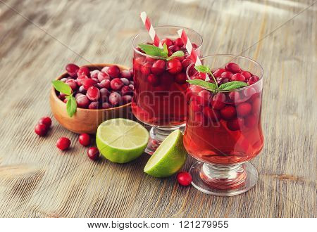 Cranberry Cocktail With Lime And Mint, Rustic, Wooden Background