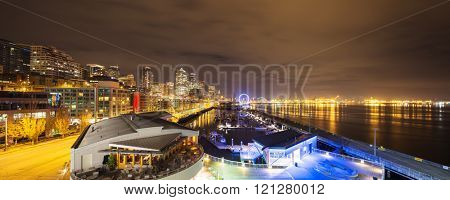 cityscape and night scene of seattle at night