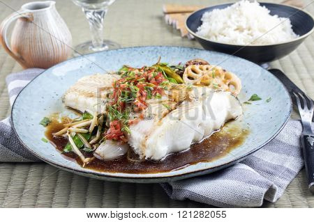 Halibut Filet with Thai Vegetable
