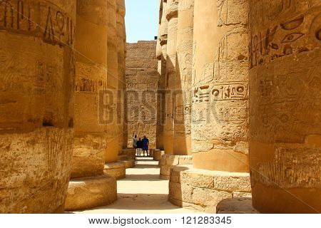 Africa, Egypt, Luxor, columns of Karnak temple with ancient hieroglyphics.