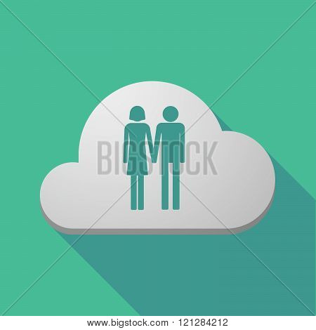Long Shadow Cloud Icon With A Heterosexual Couple Pictogram