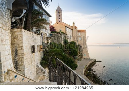 Town of Rab, Croatian tourist resort famous for its bell towers.