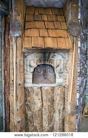 Detail Of An Outdoor Wood-burning Oven.