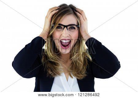 Shouting woman touching her head