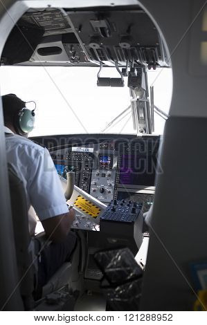 Cockpit in the plane Seychelles airlines.