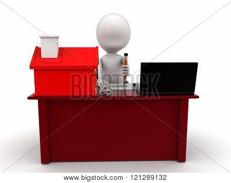 3D Man Making Home Plan On Laptop With Small Model Of House On Talbe Concept