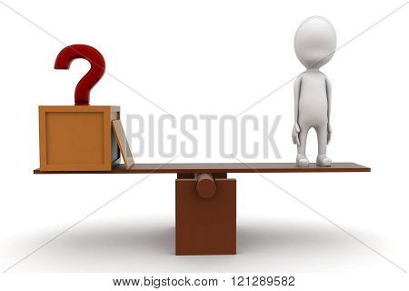 3D Man With Question Mark And Standing On Seesaw For Balance Concept