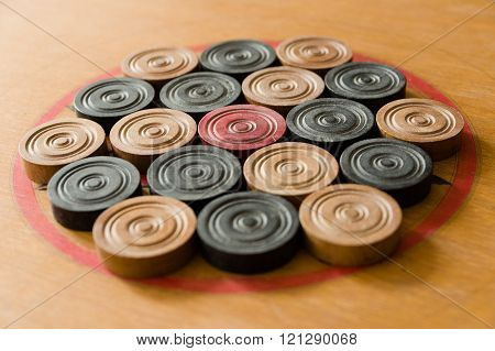A game of carom set and ready to play