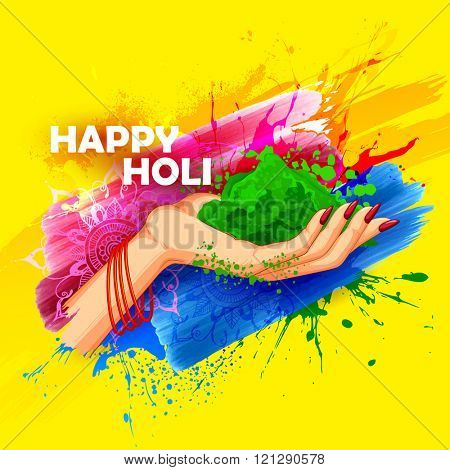 illustration of hand holding colorful gulaal (powder color) for Happy Holi