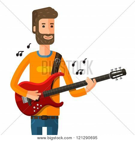 guitarist plays on the electric guitar. vector illustration