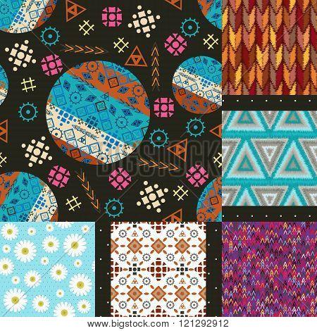 Set Of Seamless Patterns Tribal