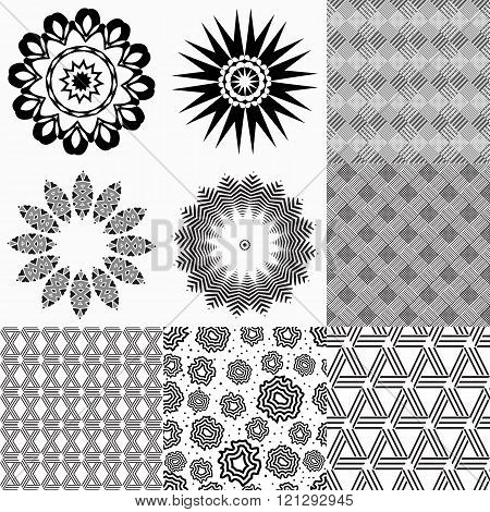 Set Of Monochrome Geometric Patterns