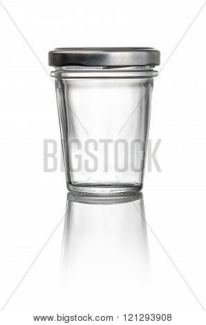 Conical Glass Jar On A White Background