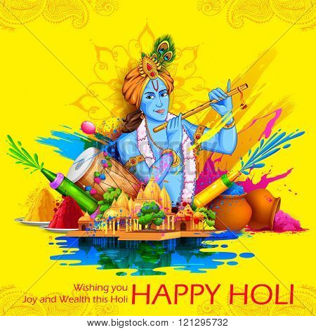 illustration of Lord Krishna playing flute in Happy Holi background