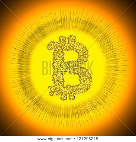 Golden Bitcoin cryptocurrency coin logo