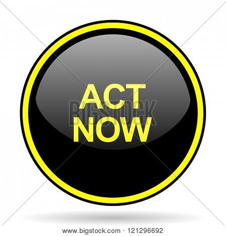act now black and yellow modern glossy web icon