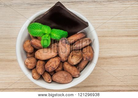 Cocoa beans in a bowl