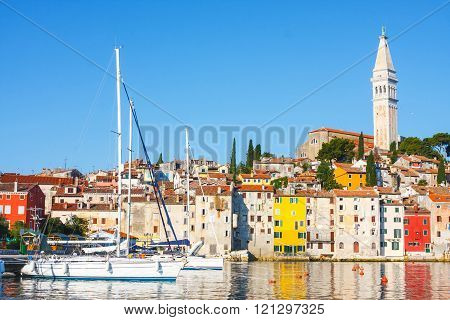 Morning View On Sailboat Harbor In Rovinj With Yachts, Croatia