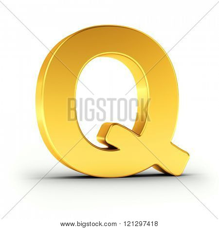 The Letter Q as a polished golden object over white background with clipping path for quick and accurate isolation.