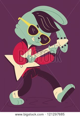 Rockabilly Bunny Playing Guitar