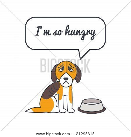 Hungry dog with speech bubble and saying