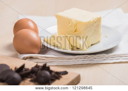 cold butter and eggs in the kitchen